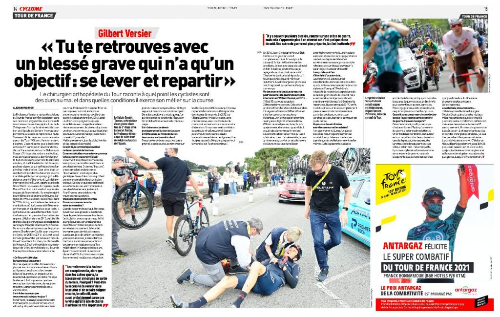 Pr Gilbert Versier interview L'Équipe Tour de France 2021